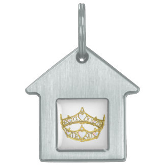 Queen of Hearts crown house shaped pet tag