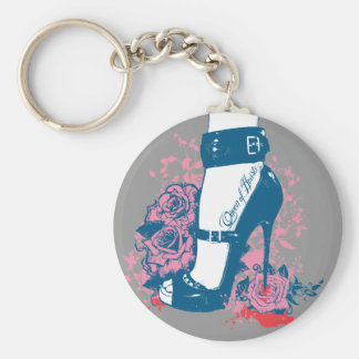 Queen of hearts edgy shoe design basic round button keychain