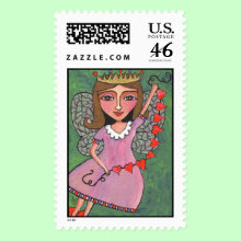 Queen of Hearts Fairy - Postage Stamp - An original folk art design by artist Amy Jordan. Enjoy for Valentine's Day or year round use!