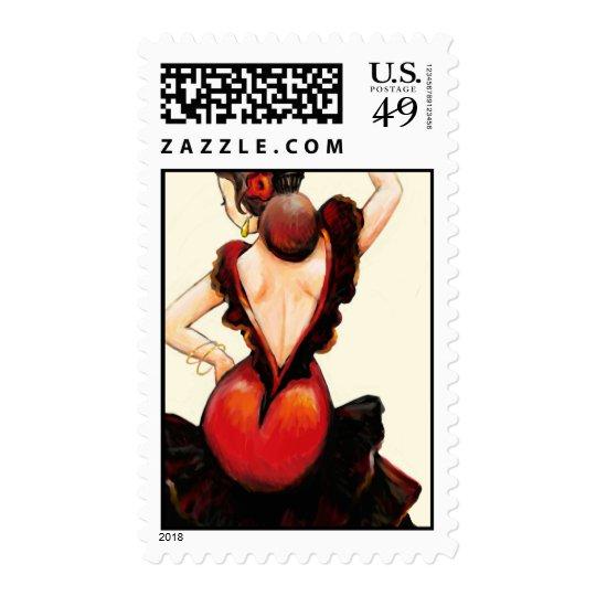 Queen of Hearts Flamenco Dancer Postage Stamp