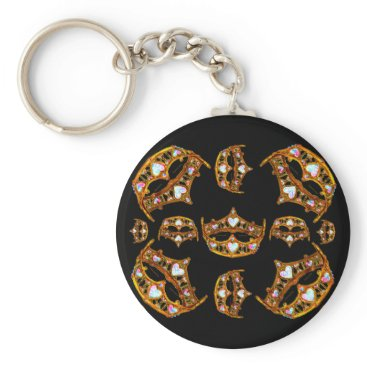 Beach Themed Queen of Hearts Gold Crowns Tiaras black keychain