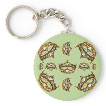 Beach Themed Queen of Hearts Gold Crowns Tiaras green keychain