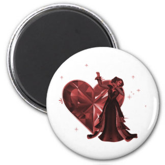Queen Of Hearts & Heart Jewel - Red 2 Inch Round Magnet