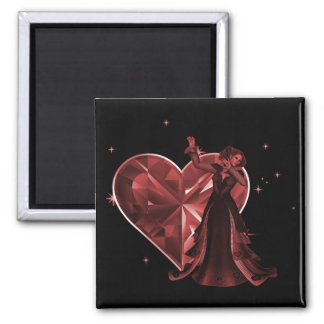 Queen Of Hearts & Heart Jewel - Red 2 Inch Square Magnet