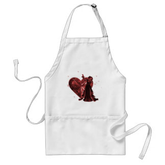 Queen Of Hearts & Heart Jewel - Red Adult Apron