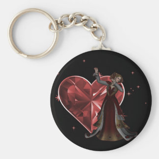 Queen Of Hearts & Heart Jewel - Red Basic Round Button Keychain