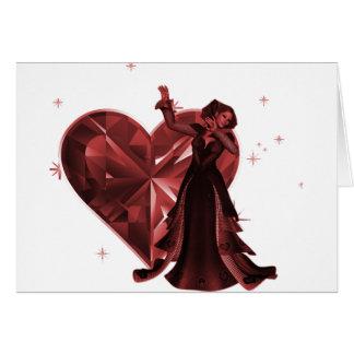 Queen Of Hearts & Heart Jewel - Red Card