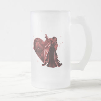 Queen Of Hearts & Heart Jewel - Red Frosted Glass Beer Mug