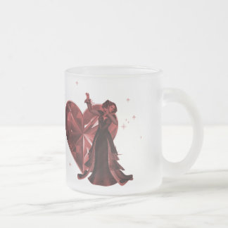 Queen Of Hearts & Heart Jewel - Red Frosted Glass Coffee Mug