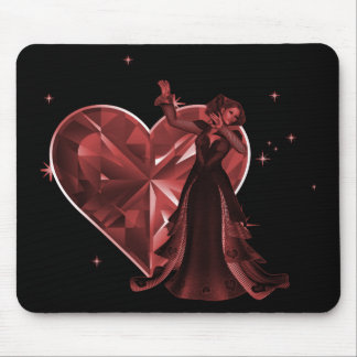 Queen Of Hearts & Heart Jewel - Red Mouse Pad