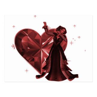 Queen Of Hearts & Heart Jewel - Red Postcard