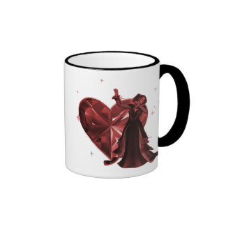 Queen Of Hearts & Heart Jewel - Red Ringer Mug