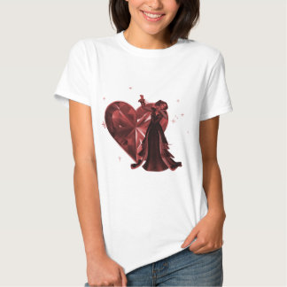 Queen Of Hearts & Heart Jewel - Red T Shirt