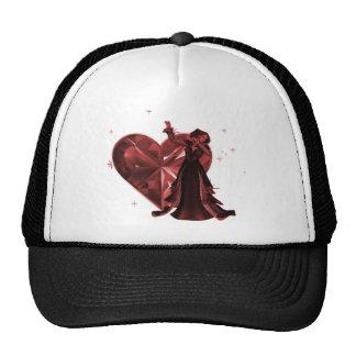 Queen Of Hearts & Heart Jewel - Red Trucker Hat