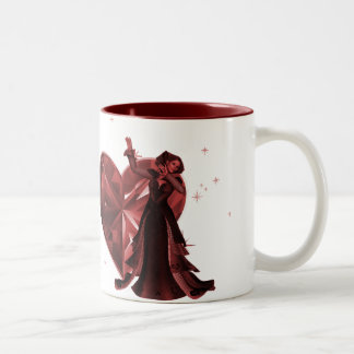 Queen Of Hearts & Heart Jewel - Red Two-Tone Coffee Mug