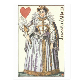 QUEEN OF HEARTS - JEANNE E'ALBRET Vintage playing Postcard