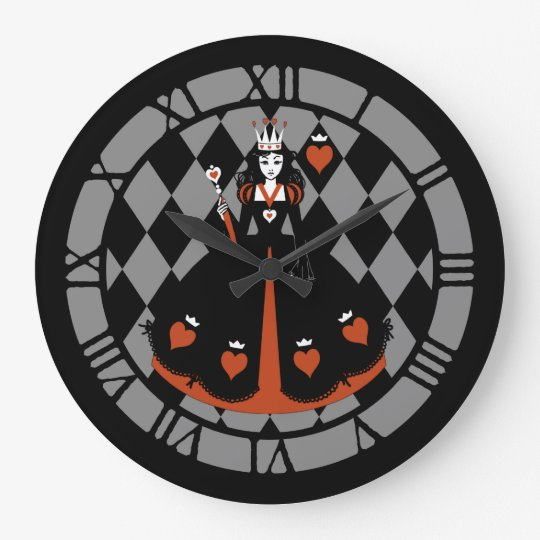 Queen Of Hearts Large Clock