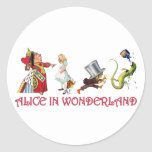 QUEEN OF HEARTS, MAD HATTER & BILL THE LIZARD CLASSIC ROUND STICKER