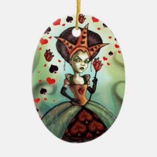 Queen of Hearts Double-Sided Oval Ceramic Christmas Ornament