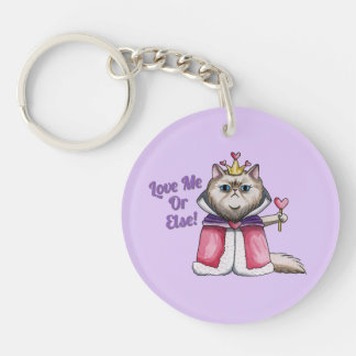 Queen of Hearts Persian Cat Illustration Keychain
