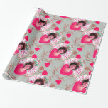 QUEEN OF HEARTS ,Pink Fuchsia Valentine's Day Wrapping Paper
