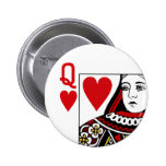 Queen Of Hearts Playing Card Button