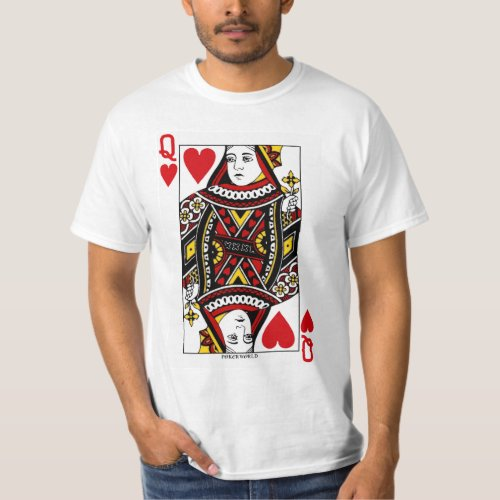 Queen Of Hearts Playing Card T_Shirt
