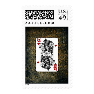 Queen of Hearts Roses Playing Card Stamp