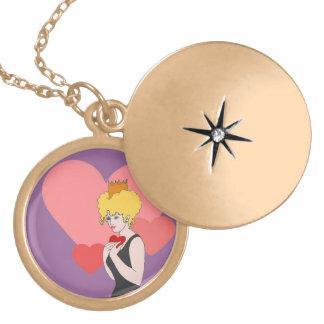 Queen of Hearts Round Locket Necklace