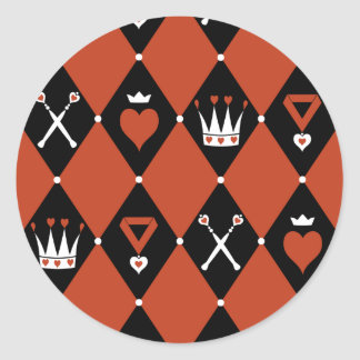 Queen of Hearts Royal Motifs Classic Round Sticker