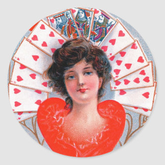 QUEEN OF HEARTS ,Valentine's Day Classic Round Sticker