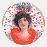QUEEN OF HEARTS ,Valentine's Day Round Sticker