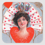 QUEEN OF HEARTS ,Valentine's Day Square Sticker