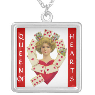 QUEEN OF HEARTS VINTAGE PRINT NECKLACE