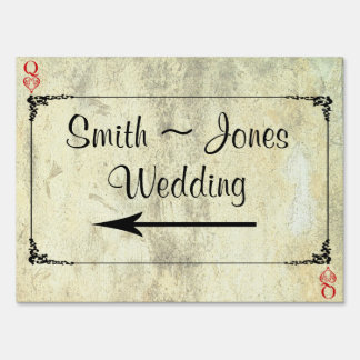 Queen of Hearts Wedding Direction Sign