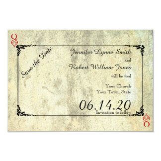 """Queen of Hearts Wedding Save the Date 3.5"""" X 5"""" Invitation Card"""