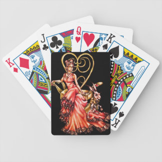 Queen of Hearts with White Rabbit Drawing Bicycle Playing Cards