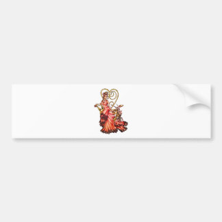 Queen of Hearts with White Rabbit Drawing Bumper Sticker