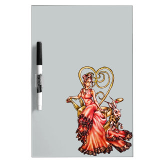 Queen of Hearts with White Rabbit Drawing Dry-Erase Whiteboard