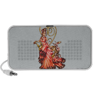 Queen of Hearts with White Rabbit Drawing Portable Speaker