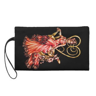 Queen of Hearts with White Rabbit Drawing Wristlet