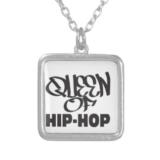 queen of hip hop silver plated necklace