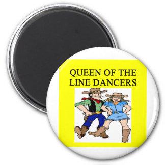 queen of line dancing 2 inch round magnet