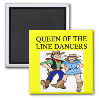queen of line dancing 2 inch square magnet