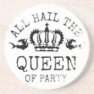 Queen of Party Sandstone Coaster