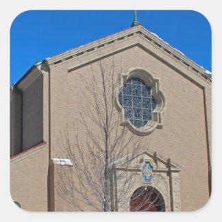 Queen of Peace Chapel in Winter Square Sticker