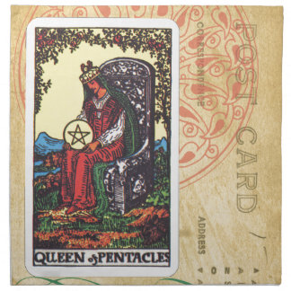 Queen Of Pentacles Tarot Postcard Fortune Teller Cloth Napkin