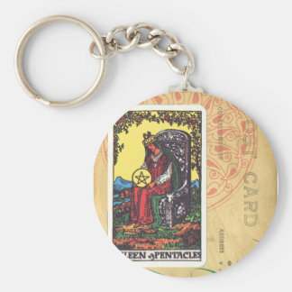 Queen Of Pentacles Tarot Postcard Fortune Teller Keychain