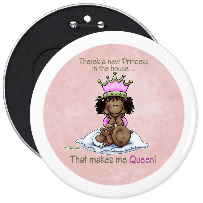 Queen of Princess African American Big Sis button