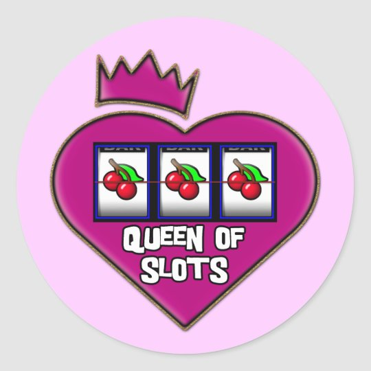QUEEN OF SLOTS CLASSIC ROUND STICKER